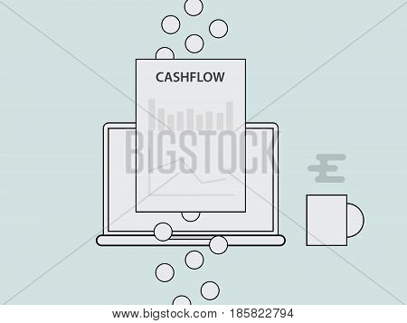 cashflow concept illustration with laptop a glass of coffee and paper graph chart document finance and gold coin money flow with vector line style vector