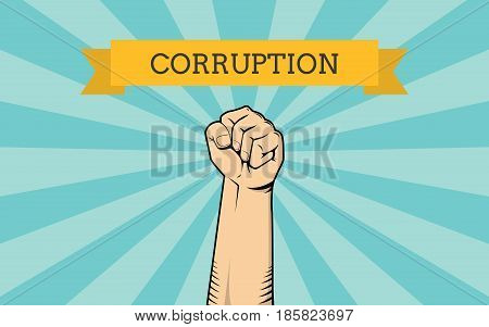 fight for corruption illustration with single hand show fighting against it vector