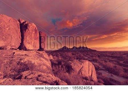 Arizona desert vista, view from Boulders in North Scotsdale