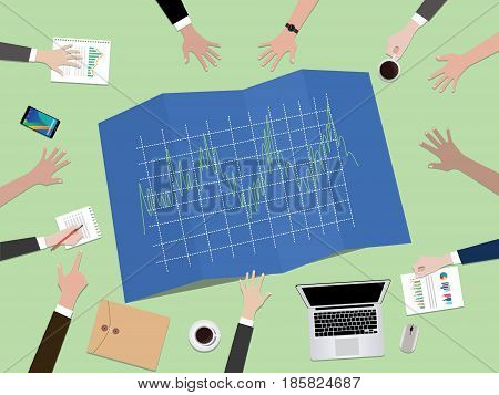forex tader graph chart concept illustration with hand team work together on top of the table vector