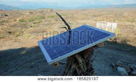 Solar panel in Desierto de la Tatacoa (Tatacoa Desert) in Villavieja, Huila / Colombia