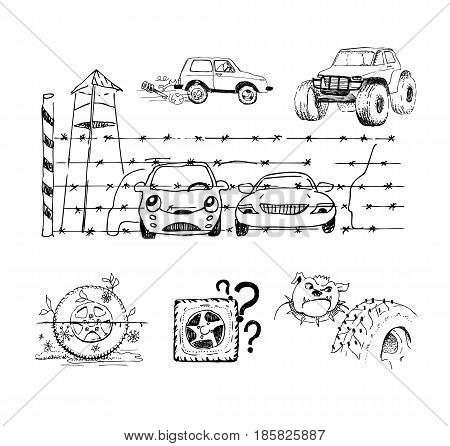 Funny sketches about cars wheels and their accessories