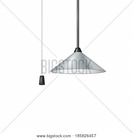 Retro hanging lamp in light blue design with black and white cord switch on white background