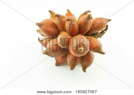 Salak fruit Salacca zalacca bunch isolated on the white background