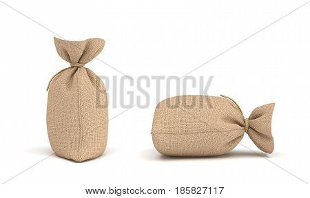 3d rendering of money bags isolated on white background. Earning and spending money. Wealth and poverty. Bank deposits.