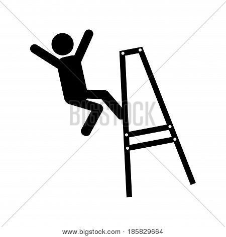 pictogram Man falling from a ladder icon over white background. vector illustration