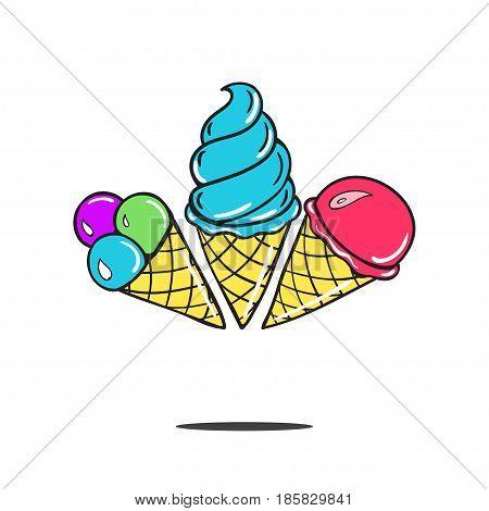 three sweet cartoon cold ice cream and tasty cartoon frozen icecream vector delicious