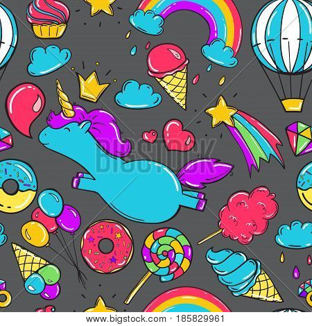 Seamless pattern with unicorns, donuts rainbow, icecream and other elements.Vector background in comic style.