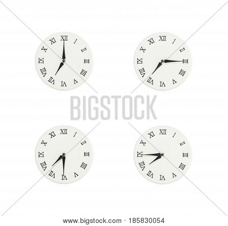 Closeup group of white clock with shadow for decorate show the time in 7 7:15 7:30 7:45 a.m. isolated on white background beautiful 4 wall clock picture in different time