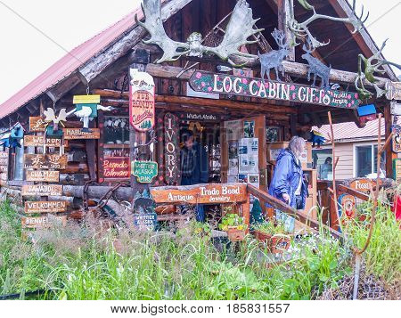 Whittier, Alaska, USA - August 11, 2008; Log Cabin Gifts tourist souvenir shop in Whittier Alaska USA.