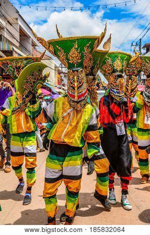 LOEI THAILAND - JUNE 27 2015 : Thai northeastern traditional Phi Ta Khon ghost festival parade on June 27 2015 in Dansai of Loei Thailand