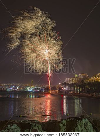 Independence day in Israel. Festive fireworks in Eilat - number one tourist resort in Israel