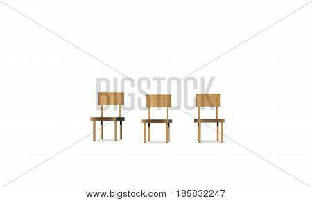 set of wooden chairs on white background. 3D wood chair.