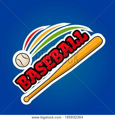 Baseball logo design with moving ball and wooden bat vector illustration isolated on blue background. Bat-and-ball game logotype sticker for sport team emblem, label in gaming concept in flat style