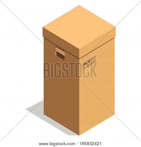 Simple brown rectangular cardboard box with small fragile, top of product and keep away from moisture signs, cover and handles for transportation isolated vector illustration on white background.
