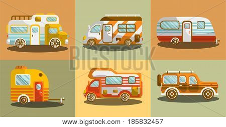 Camper vans for travelling colorful collection in flat design vector poster. Means of transportation with all facilities inside for tourists for living on fresh air. Mobile houses on wheels template