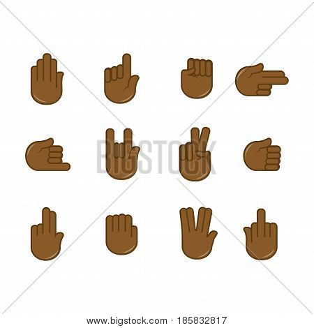 Human finger gesturing of pointing, attention agreement concept flat vector illustration on white background. Cartoon limbs in various positions, with nonverbal communication gesture signs design