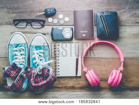 Travel accessories costumes. Passports, luggage, The cost of travel prepared for the trip