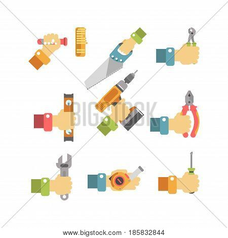 Soft roller, hand saw, sharp clippers, accurate level tool, electric drill, convenient pliers, big spanner, long roulette and compact screwdriver in human hands isolated vector illustrations set.