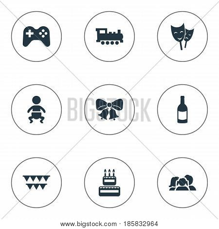 Vector Illustration Set Of Simple Holiday Icons. Elements Resonate, Beverage, Confectionery And Other Synonyms Family, Sweetmeat And Beverage.