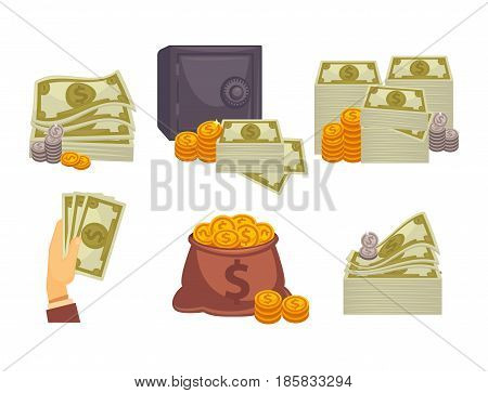 Bundles of money, stacks of gold and silver coins, big iron safe with code, big bag of pennies and several banknotes in cartoon hand isolated vector illustrations collection on white background.