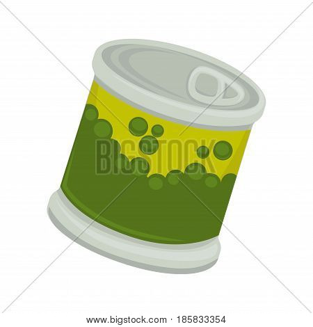 Canned vegetable pea in little iron plastic bank with emblem of peas isolated on white. Small jar with self-opening lid vector illustration of packaged products of green beans flat design.