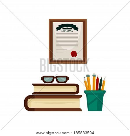 Pens and pencils in green holder, pile of thick books, eyesight glasses and university diploma with red seal in frame isolated on white background. Things from study room vector illustration.
