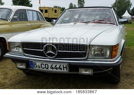 PAAREN IM GLIEN GERMANY - MAY 19: The two-door roadster Mercedes-Benz R107 (280 SL) The oldtimer show in MAFZ May 19 2013 in Paaren im Glien Germany