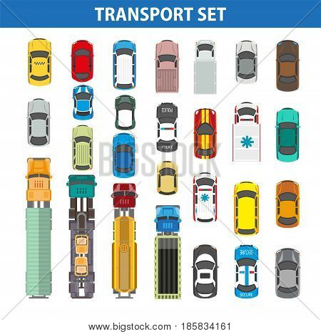 Transportation colorful collection on white vector flat illustration. Transport for various purposes parking together, view from top. Passenger vehicles and autos with trailers for carrying things
