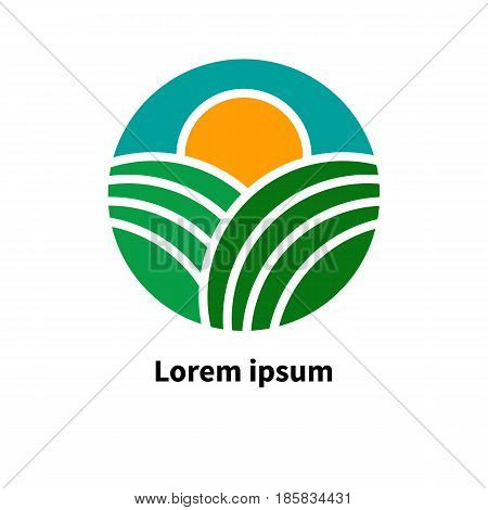 Logo icon farm product agriculture. Fields sky and sun. Vector illustration.
