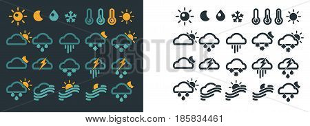 Weather forecast symbols on dark and light backgrounds. Vector poster of signs showing conditions outside and warning about rain or snow. Colorful marks forecasting icons blue and black on white