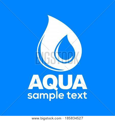 Aqua drop sign isolated on blue background vector illustration. Droplet of water logotype design in flat style. Sticker with clean liquid splash, purity concept. Logo with place for your text