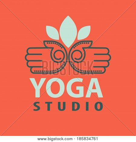 Yoga studio logotype with open palms isolated vector illustration on red background. Hand pressure points for massaging and stress relief exercising, logo design in flat style. Acupressure concept