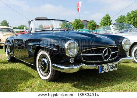 PAAREN IM GLIEN GERMANY - MAY 19: The two-door roadster Mercedes-Benz 190SL The oldtimer show in MAFZ May 19 2013 in Paaren im Glien Germany