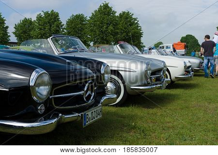 PAAREN IM GLIEN GERMANY - MAY 19: Several two-door roadster Mercedes-Benz 190SL The oldtimer show in MAFZ May 19 2013 in Paaren im Glien Germany