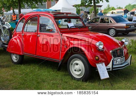 PAAREN IM GLIEN GERMANY - MAY 19: Economy car Citroen 2CV6 The oldtimer show in MAFZ May 19 2013 in Paaren im Glien Germany