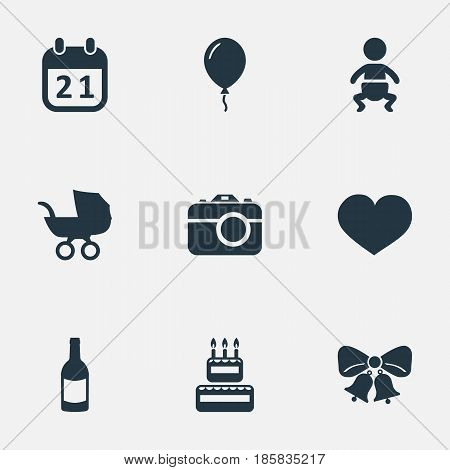 Vector Illustration Set Of Simple Celebration Icons. Elements Infant, Resonate, Beverage And Other Synonyms Infant, Day And Resonate.