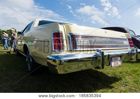 PAAREN IM GLIEN GERMANY - MAY 19: Full-size car Ford LTD (Americas) rear view The oldtimer show in MAFZ May 19 2013 in Paaren im Glien Germany