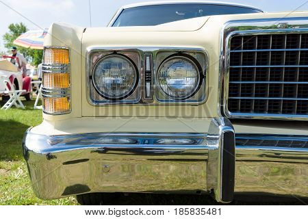 PAAREN IM GLIEN GERMANY - MAY 19: Headlamp Full-size car Ford LTD (Americas) The oldtimer show in MAFZ May 19 2013 in Paaren im Glien Germany