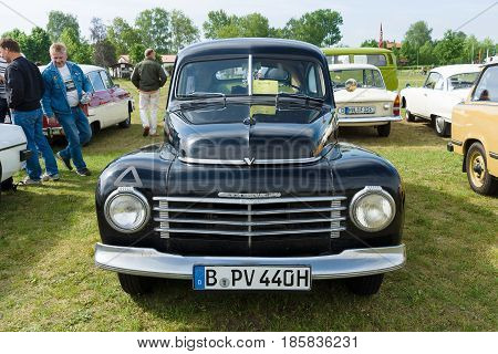 PAAREN IM GLIEN GERMANY - MAY 19: Two-door fastback Volvo PV444 The oldtimer show in MAFZ May 19 2013 in Paaren im Glien Germany