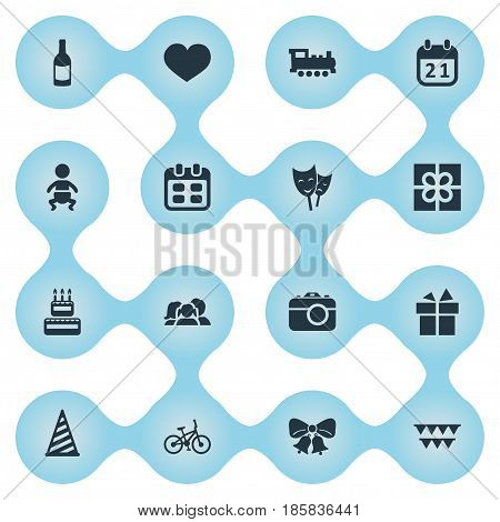 Vector Illustration Set Of Simple Celebration Icons. Elements Confectionery, Box, Cap And Other Synonyms Box, Gift And Locomotive.