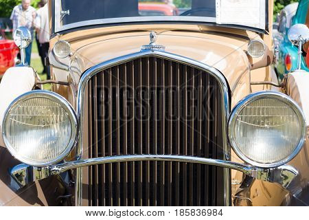 PAAREN IM GLIEN GERMANY - MAY 19: The front part of the car DeSoto Six Convertible Coupe (Chrysler) The oldtimer show in MAFZ May 19 2013 in Paaren im Glien Germany