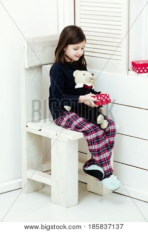 Girl With Teddy Bear And Red Gift Box
