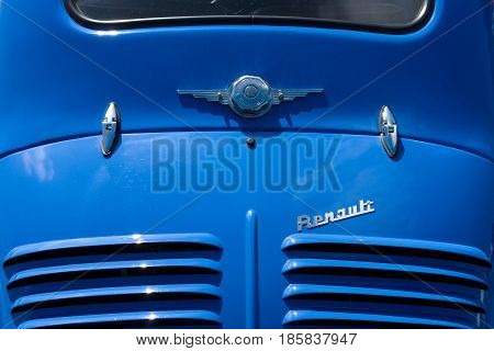Paaren Im Glien, Germany - May 19: Rear Vents And Emblem Compact Car Renault 4Cv,