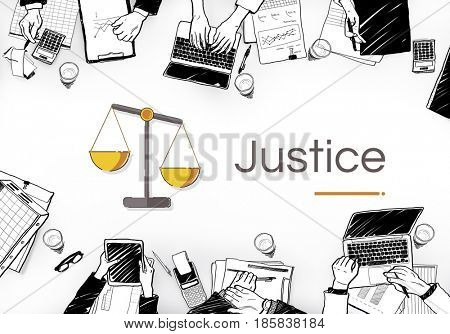 Illustration of justice judgment scale