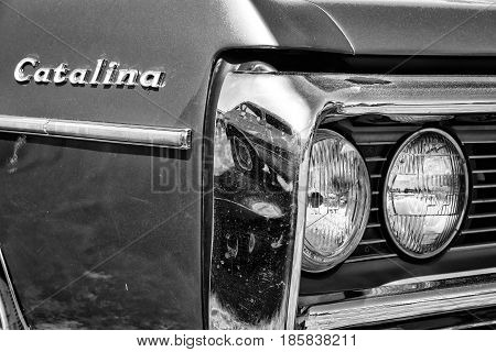 PAAREN IM GLIEN GERMANY - MAY 19: Detail Full-size car Pontiac Catalina (black and white) The oldtimer show in MAFZ May 19 2013 in Paaren im Glien Germany
