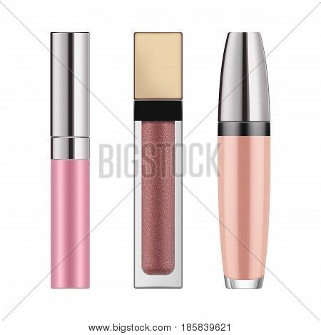 Set of realistic lip gloss. Mock-up of packages for decorative cosmetic product. Makeup for beauty face and beautiful lip. Vector illustration isolated on white