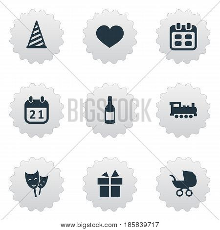 Vector Illustration Set Of Simple Birthday Icons. Elements Baby Carriage, Train, Days And Other Synonyms Stroller, Hat And Fizz.