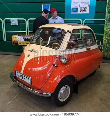 PAAREN IM GLIEN GERMANY - MAY 19: The two-seater microcar BMW Isetta 300