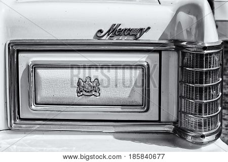 PAAREN IM GLIEN GERMANY - MAY 19: Detail of the full-size car Mercury Grand Marquis black and white